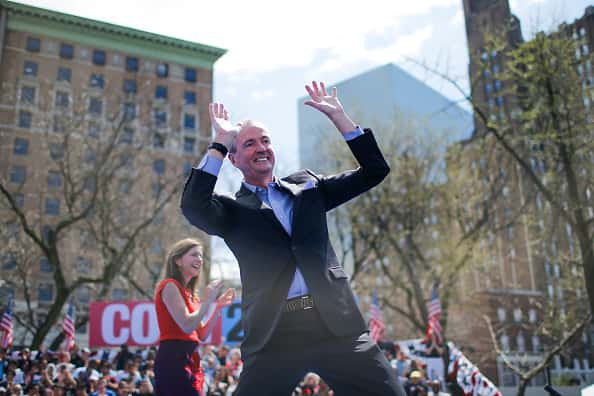 NEWARK, NJ - APRIL 13: New Jersey Governor Phil Murphy exits the stage after speaking to supportres during a campaign event for Sen. Cory Booker (D-NJ) and 2020 presidential candidate, on April 13, 2019 in Newark, New Jersey. The New Jersey Senator and presidential hopeful is launching his Justice for All campaign tour.