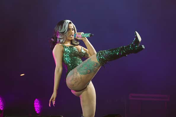 Cardi B performs on stage on Day 5 of Roskilde Festival on July 3, 2019 in Roskilde, Denmark.