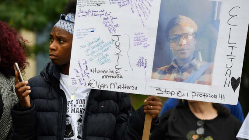 AURORA, CO - OCTOBER 01: Rashiaa Veal holds a sign of her cousin, Elijah McClain at a press conference in front of the Aurora Municipal Center October 01, 2019. Family, friends, legal counsel, local pastors and community organizers were calling for justice for the officer-involved death of McClain. On August 24, 2019, Elijah was confronted by Aurora police officers on a 911 complaint August 24, 2019. A violent struggle ensued were Elijah became unconscious, while being transported to a hospital McClain had a cardiac arrest. Elijah McClain died August 30th, 2019 after he was taken off life support.