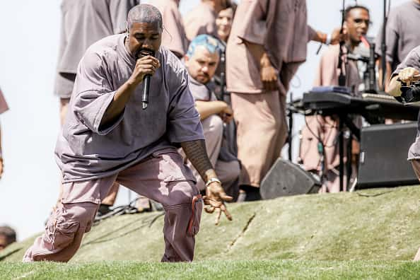 Kanye West performs Sunday Service during the 2019 Coachella Valley Music And Arts Festival on April 21, 2019 in Indio, California.