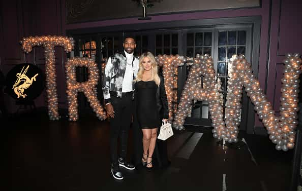 LOS ANGELES, CA - MARCH 10: Tristan Thompson and Khloe Kardashian pose for a photo as Remy Martin celebrates Tristan Thompson's Birthday at Beauty & Essex on March 10, 2018 in Los Angeles, California.
