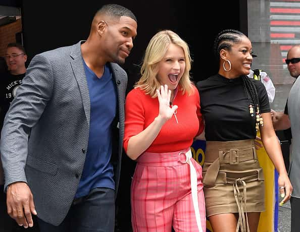 NEW YORK, NY - JULY 31: Michael Strahan, Sara Haines and Keke Palmer are seen in Times Square on July 31, 2019 in New York City.