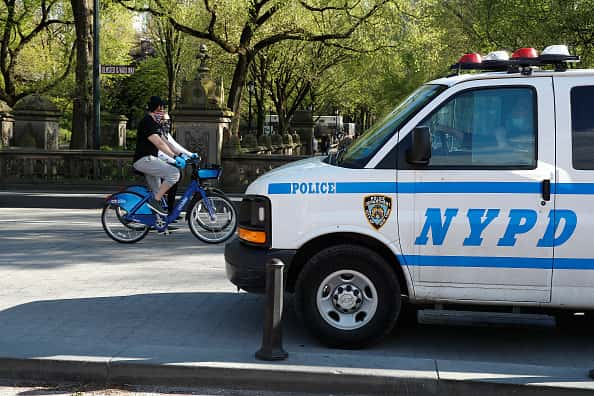 NYPD patrols Central park to assure people keep to social distancing rules during the coronavirus pandemic on May 2, 2020 in New York City. COVID-19 has spread to most countries around the world, claiming over 244,000 lives and infecting over 3.4 million people