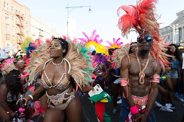 Masqueraders at the annual 48th West Indian American Day Parade on September 7, 2015 in the Brooklyn borough of New York City.