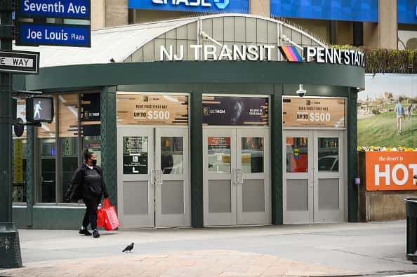 A view outside Penn Station during the coronavirus pandemic on April 27, 2020 in New York City. COVID-19 has spread to most countries around the world, claiming over 211,000 lives with over 3 million infections reported.