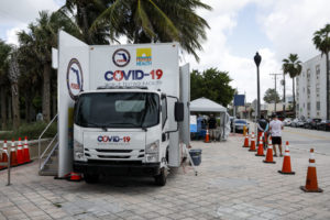 FLORIDA, USA - JULY 24: General view of a mobile COVID-19 testing facility, in Miami Beach, Florida, United States on July 24, 2020.