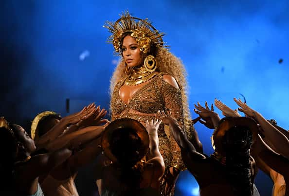 LOS ANGELES, CA - FEBRUARY 12: Recording artist Beyonce performs onstage during The 59th GRAMMY Awards at STAPLES Center on February 12, 2017 in Los Angeles, California.
