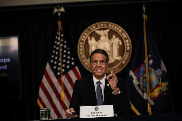 New York Gov. Andrew Cuomo speaks at a news conference on July 1, 2020 in New York City. The governor expressed alarm at Director of the National Institute for Allergy and Infectious Diseases Dr. Anthony Fauci's recent prediction that there could be 100,000 new Covid-19 cases per day and provided a number of updates related to an increase of states where out-of-state visitors will be required to quarantine for 14 days.