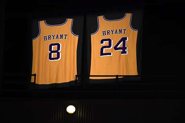 View of Los Angeles Lakers Kobe Bryant (8) and (24) retired jerseys in rafters before game vs Houston Rockets at Staples Center. Los Angeles, CA 2/6/2020 CREDIT: John W. McDonough
