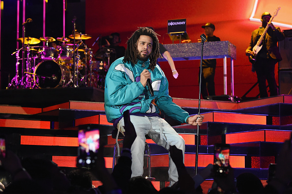 CHARLOTTE, NC - FEBRUARY 17: J. Cole performs at halftime during the 68th NBA All-Star Game at Spectrum Center on February 17, 2019 in Charlotte, North Carolina.