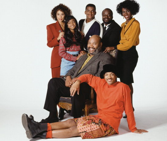 Karyn Parsons as Hilary Banksm, Tatyana Ali as Ashley Banks, Alfonso Ribeiro as Carlton Banks, Joseph Marcell as Geoffrey, Janet Hubert as Vivian Banks, (middle) Alfonso Ribeiro as Carlton Banks, (front) Will Smith as William 'Will' Smith
