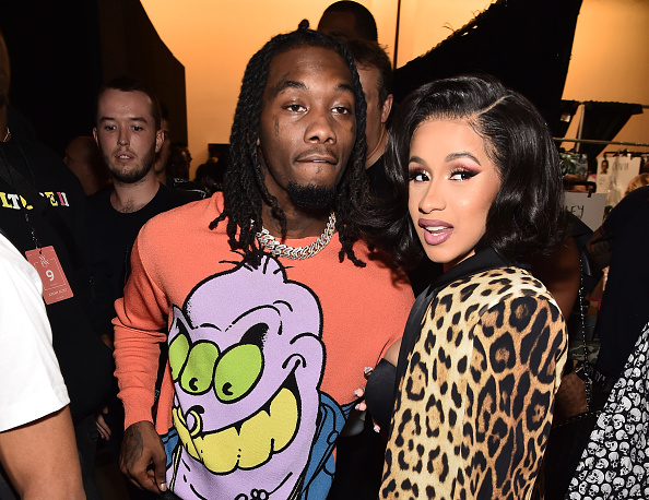NEW YORK, NY - SEPTEMBER 06: Offset and Cardi B pose backstage at the Jeremy Scott show during New York Fashion Week: The Shows at Gallery I at Spring Studios on September 6, 2018 in New York City.