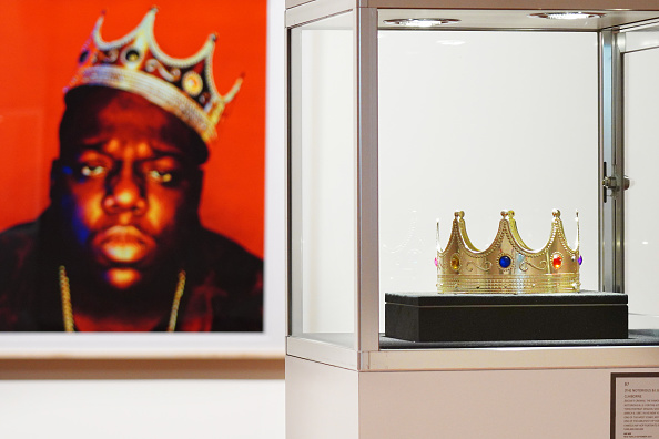 """The crown worn by Notorious B.I.G. when photographed by Barron Claiborne as the King of New York is displayed during a preview at Sotheby's for their Inaugural HIP HOP Auction on September 12, 2020 in New York City. A celebration of the history and cultural impact of Hip Hop, the sale reflects on the impact the movement has had on art and culture from the late 1970s through the """"Golden Age"""" of the mid-1980s to mid-1990s, and up to the present."""