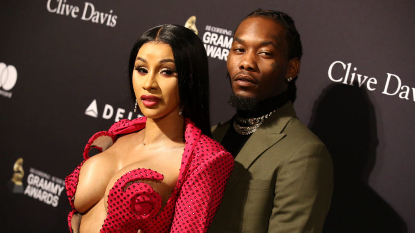 "BEVERLY HILLS, CALIFORNIA - JANUARY 25: Cardi B (L) and Offset attend the Pre-GRAMMY Gala and GRAMMY Salute to Industry Icons Honoring Sean ""Diddy"" Combs at The Beverly Hilton Hotel on January 25, 2020 in Beverly Hills, California."