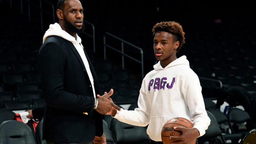 LOS ANGELES, CA - DECEMBER 28: LeBron James #23 of the Los Angeles Lakers and his son LeBron James Jr., on the court after the Los Angeles Clippers and Los Angeles Lakers basketball game at Staples Center on December 28, 2018 in Los Angeles, California. NOTE TO USER: User expressly acknowledges and agrees that, by downloading and or using this photograph, User is consenting to the terms and conditions of the Getty Images License Agreement.