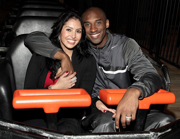 NBA MVP Kobe Bryant (right) and wife Vanessa Bryant (left) on Terminator Salvation - The Ride at Six Flags Magic Mountain on June 28, 2009 in Valencia, California.