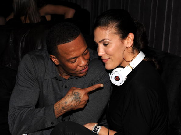 Musician Dr. Dre and wife Nicole Young attend The Interscope, Geffen, A&M and Beats By Dre Grammy Party at Thom Thom Club on January 31, 2010 in Santa Monica, California.
