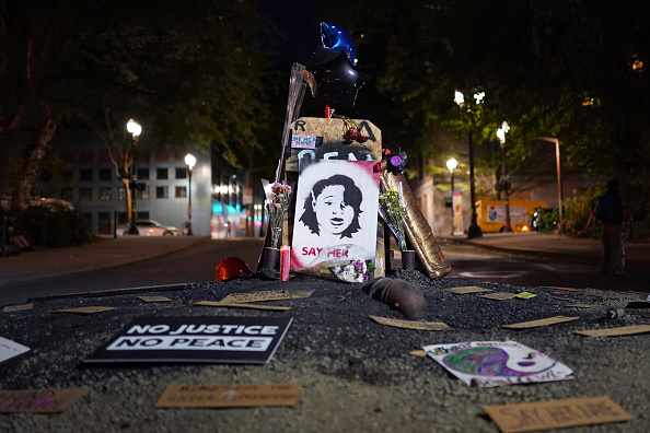 A memorial to Breonna Taylor is seen here during a Black Lives Matter protest on August. 2, 2020 in Portland, Oregon. Portlands nightly protests have remained peaceful following Thursdays announcement that federal officers would begin a phased withdrawal from the city.