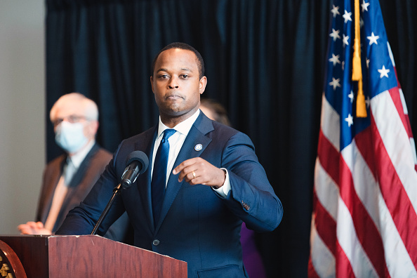 Kentucky Attorney General Daniel Cameron speaks during a press conference to announce a grand jury's decision to indict one of three Louisville Metro Police Department officers involved in the shooting death of Breonna Taylor on September 23, 2020 in Frankfort, Kentucky. Former Louisville Metro Police Officer Brett Hankison has been charged with wanton endangerment for shooting into neighboring apartments during the execution of a fatal raid on Taylor's apartment on March 13, 2020.