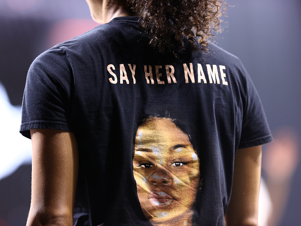 A view of a shirt honoring Breonna Taylor seen during the game between the Minnesota Lynx and the Seattle Storm in Game Two of the Semifinals of the 2020 WNBA Playoffs on September 24, 2020 at Feld Entertainment Center in Palmetto, Florida. NOTE TO USER: User expressly acknowledges and agrees that, by downloading and/or using this Photograph, user is consenting to the terms and conditions of the Getty Images License Agreement. Mandatory Copyright Notice: Copyright 2020 NBAE