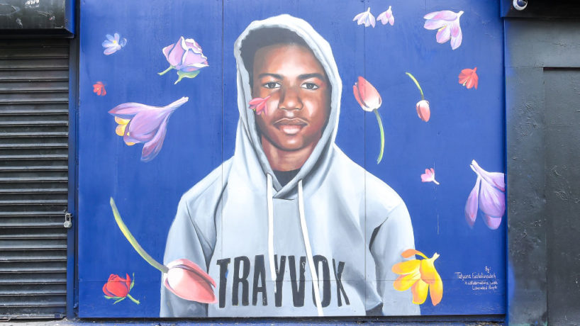 NEW YORK, NY - AUGUST 21: A view of the Trayvon Martin mural at the Trayvon Martin Mural Unveiling on August 21, 2018 in New York City.
