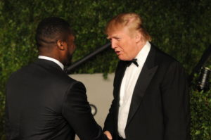 50 Cent and Donald Trump arrive at the Vanity Fair Oscar party hosted by Graydon Carter held at Sunset Tower on February 27, 2011 in West Hollywood, California.