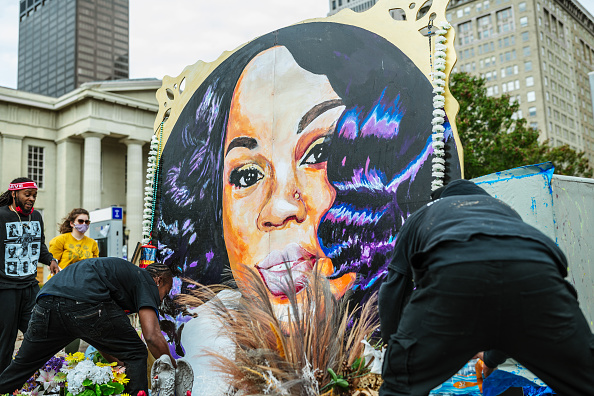 Demonstrators maintain the decorations around the Breonna Taylor memorial in Jefferson Square Park on September 30, 2020 in Louisville, Kentucky. Jefferson Square Park has remained the epicenter for Black Lives Matter protest action following the March 13th killing of Breonna Taylor by police during a no-knock warrant at her apartment.