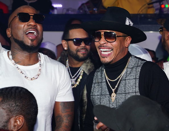 ATLANTA, GA - FEBRUARY 03: (L-R) Rapper Jeezy and T.I. attend Official Big Game Kick Off Hosted by Trey Songz + Jeezy at Gold Room on February 3, 2019 in Atlanta, Georgia.