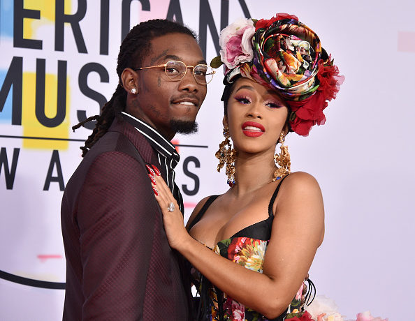 LOS ANGELES, CA - OCTOBER 09: Offset and Cardi B attend the 2018 American Music Awards at Microsoft Theater on October 9, 2018 in Los Angeles, California.