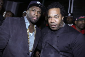 NEW YORK, NY - MARCH 26: (L-R) 50 Cent and Busta Rhymes attend the Mobb Deep Album Release Party at Red Bull Studios New York on March 26, 2014 in New York City.