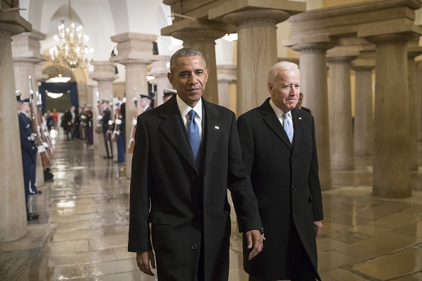 President Barack Obama and Vice President Joe Biden walk through the Crypt of the Capitol for Donald Trumps inauguration ceremony, in Washington, USA on January 20, 2017.