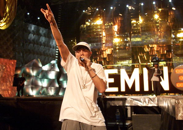 Rapper Eminem attends rehearsals for the 2000 MTV Video Music Awards at Radio City Music Hall in New York City September 6, 2000.