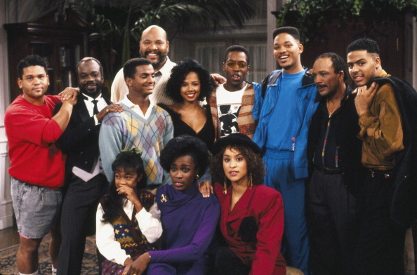 """THE FRESH PRINCE OF BEL AIR -- """"Someday Your Prince Will Be in Effect: Part 2"""" -- Aired 10/29/90 -- Pictured: (back, l-r) Producer Benny Medina, Joseph Marcell as Geoffrey, Alfonso Ribeiro as Carlton Banks, James Avery as Philip Banks, Tyler Collins as Cindy, Kadeem Hardison as Himself, Will Smith as William 'Will' Smith, Quincy Jones as Himself, Al B. Sure as Himself, (front, l-r) Tatyana Ali as Ashley Banks, Janet Hubert-Whitten as Vivian Banks, Karyn Parsons as Hilary Banks"""