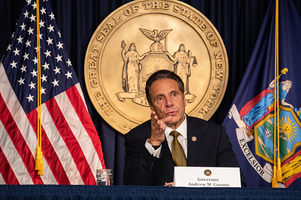 Andrew Cuomo, governor of New York, speaks during a news conference in New York, U.S., on Monday, Oct. 5, 2020. Governor Cuomo said New York City public and private schools in viral hot spots must close Tuesday, and he threatened to shut religious institutions if members dont follow rules about masks and social distancing.