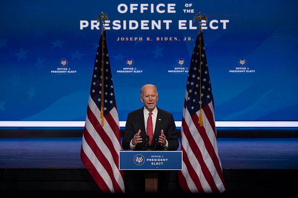 US President-elect Joe Biden speaks after a meeting with governors in Wilmington, Delaware, on November 19, 2020. - Biden said today he would not order a nationwide shutdown to fight the Covid-19 pandemic despite a surge in cases.
