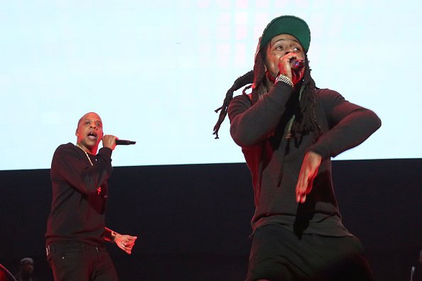 Jay Z and Lil Wayne perform during Tidal X: 1020 at Barclays Center on October 20, 2015 in the Brooklyn borough of New York City.