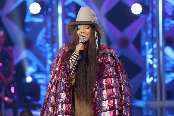ATLANTA, GA - FEBRUARY 11: Erykah Badu speaks onstage during BET's Social Awards 2018 at Tyler Perry Studio on February 11, 2018 in Atlanta, Georgia.