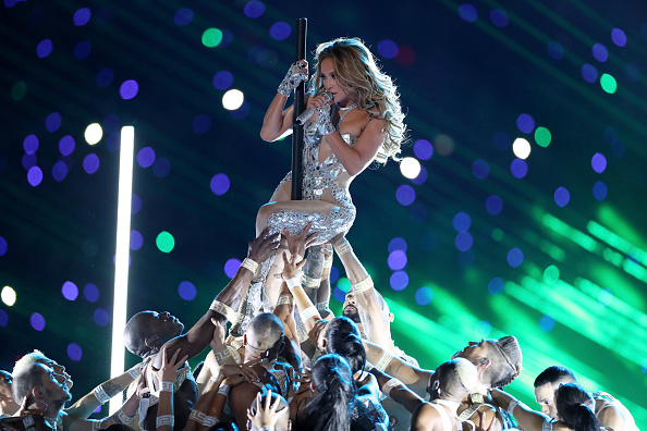 Football: Super Bowl LIV: Singer Jennifer Lopez performing during halftime show of San Francisco 49ers vs Kansas City Chiefs game at Hard Rock Stadium. Miami Gardens, FL 2/2/2020