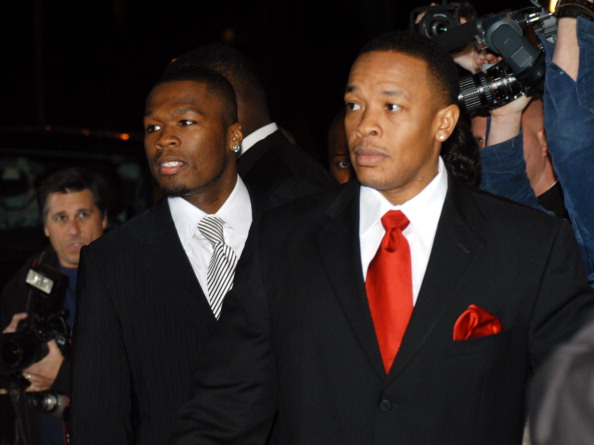 """50 Cent and Dr. Dre during The Shady National Convention - Eminem Launches New Sirius Radio Channel """"Shade 45"""" at Roseland Ballroom in New York City, New York, United States."""