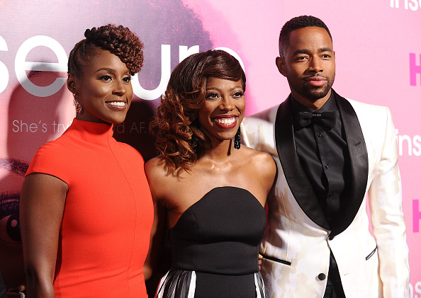 """Issa Rae, Yvonne Orji and Jay Ellis attend the premiere of """"Insecure"""" at Nate Holden Performing Arts Center on October 6, 2016 in Los Angeles, California."""