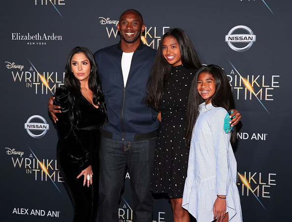 """LOS ANGELES, CA - FEBRUARY 26: Kobe Bryant (2nd L) and his family attend the premiere of Disney's """"A Wrinkle In Time"""" at the El Capitan Theatre on February 26, 2018 in Los Angeles, California."""