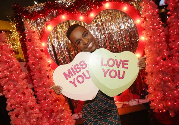 Miss Universe 2019 Zozibini Tunzi poses as Miss USA & Miss Universe celebrate Valentines Day at Planet Hollywood Times Square on February 5, 2020 in New York City.