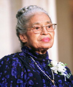 Civil rights leader Rosa Parks waits to receive the Congressional Gold Medal in Statuary Hall in the Capitol Building, Washington, DC, June 14, 1999.