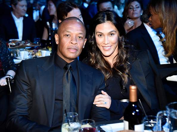 Dr. Dre and Nicole Young attend 31st Annual Rock And Roll Hall Of Fame Induction Ceremony at Barclays Center of Brooklyn on April 8, 2016 in New York City.