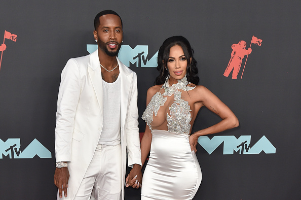 NEWARK, NEW JERSEY - AUGUST 26: Safaree Samuels and Erica Mena Samuels attend the 2019 MTV Video Music Awards red carpet at Prudential Center on August 26, 2019 in Newark, New Jersey.