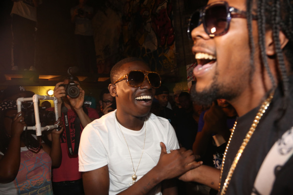 NEW YORK, NY - AUGUST 11: (L-R) Bobby Shmurda and Rowdy Rebel perform during ALife Sessions Presents: Bobby Shmurda & Yo Gotti on August 11, 2014 in New York City. (Photo by Johnny Nunez/GettyImages)