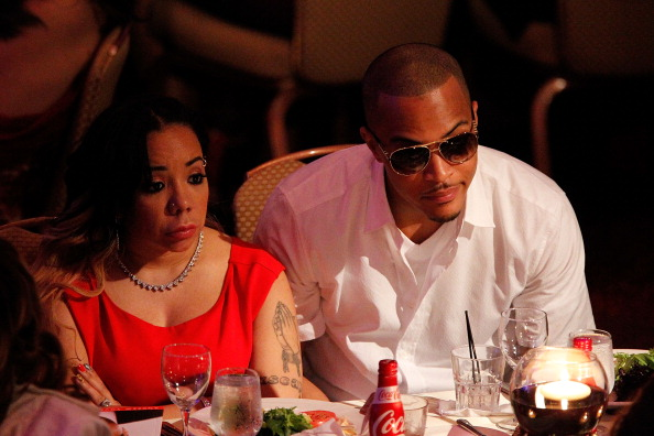 "Singer Tameka ""Tiny"" Cottle and Clifford ""T.I."" Harris attend The Andrew Young Foundation's celebration of the 80th birthday of Andrew Young at The Hyatt Regency Atlanta on May 20, 2012 in Atlanta, Georgia."