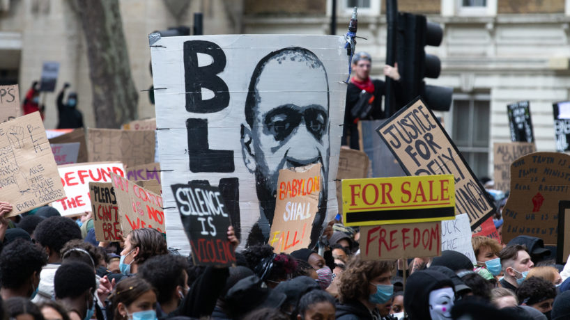 'Black Lives Matter' protest in London to show anger for the unlawful killing of George Floyd by police in Minneapolis, United States.