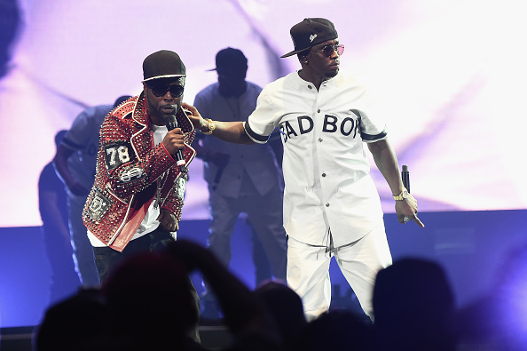 "Black Rob (L) and Sean ""Diddy"" Combs aka Puff Daddy perform onstage during the Puff Daddy and The Family Bad Boy Reunion Tour presented by Ciroc Vodka And Live Nation at Barclays Center on May 20, 2016 in New York City."