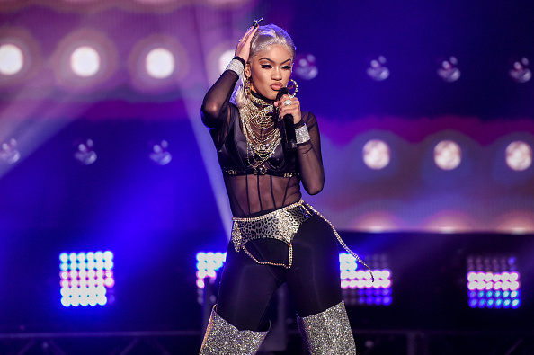 In this image released on December 31, Saweetie performs at Dick Clark's New Year's Rockin' Eve with Ryan Seacrest 2021 broadcast on December 31, 2020 and January 1, 2021.